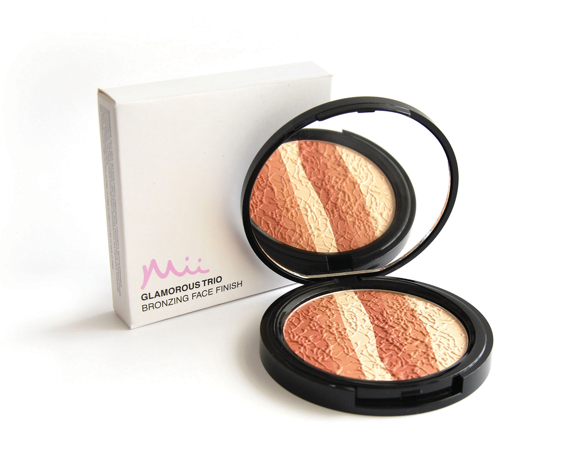 Mii Cosmetics, Style Magazine loves Mii Bronzing Face Finish for a soft daytime look, and Glamorous Trio Bronzing Face Finish for a more irredesent, sun kissed glow.