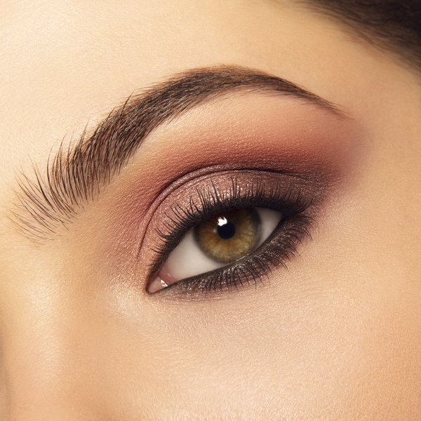 Model wearing Mii Cosmetics Colour Play Eyeshadow Palette Boho Berry