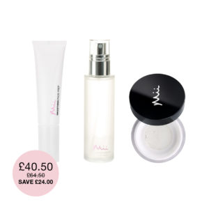 Longwearing Base Bundle which includes a Smoothing Face Prep, Supercharged Setting Mist, Illusionist Translucent Powder