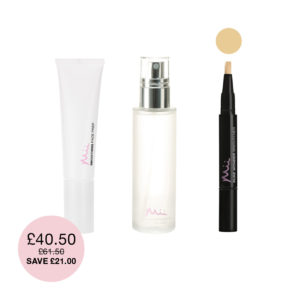 Prime Set Brighten Bundle which includes a Smoothing Face Prep, a Supercharged Setting Mist and a Pure Wonder Brightener Concealer