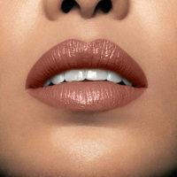 Model wearing Mii Moisturising Lip Lover ML12 Hush Lipstick